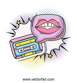 cassette with mouth woman pop art style