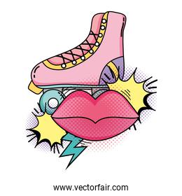 retro skate with mouth pop art style