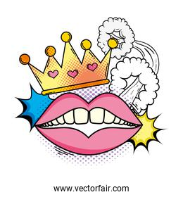 queen crown with mouth pop art