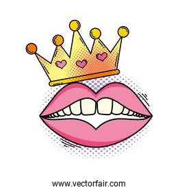 isolated queen crown with mouth pop art
