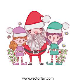 cute christmas santa claus with helpers