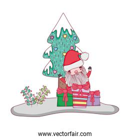 cute christmas santa claus with gift present