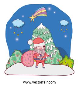 cute christmas santa claus with bag in the landscape