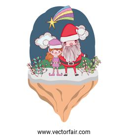 christmas santa claus with helper in the landscape