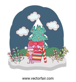cute santa helper with gifts in the snowscape
