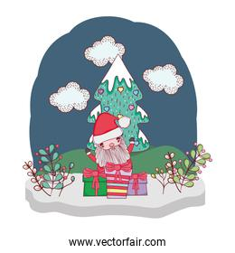 christmas santa claus with gift in the snowscape