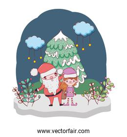 santa claus with tree and helper in the snowscape