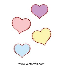 hearts love colors icons