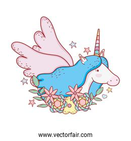 cute fairytale unicorn with floral decoration