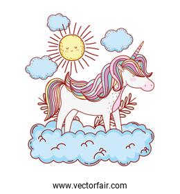 cute fairytale unicorn with clouds and sun