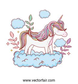cute fairytale unicorn with clouds