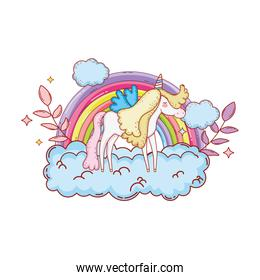 cute unicorn with clouds and rainbow