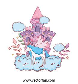 cute unicorn with clouds and castle