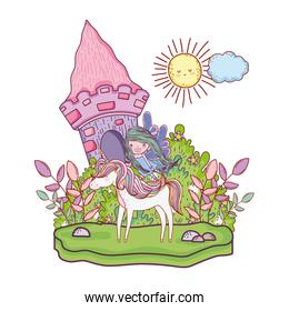 castle with unicorn and fairy in the landscape