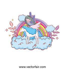 rainbow with unicorn and fairy in the clouds