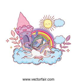castle with unicorn and fairy in the clouds