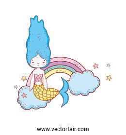 cute mermaid with clouds and rainbow