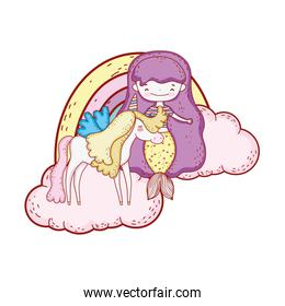 mermaid with unicorn and rainbow in clouds