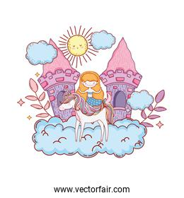 mermaid with unicorn and castle in cloud