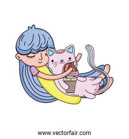 little girl with cat kawaii character