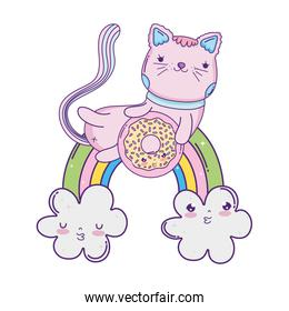 cute cat with donut in rainbow