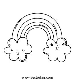 cute cloud with rainbow kawaii character