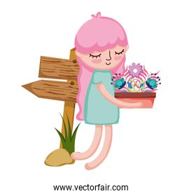 little girl lifting houseplant with arrow signal