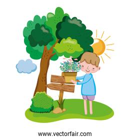 boy lifting houseplant with arrow sign and tree