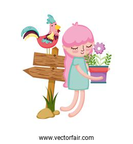 girl lifting houseplant with arrow signal and rooster