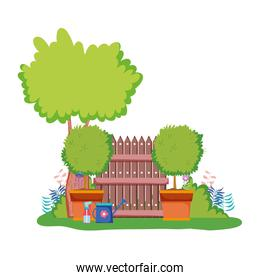 wooden fence with tree in the camp
