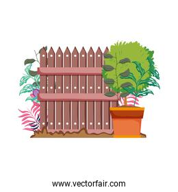 wooden fence with garden flowers scene
