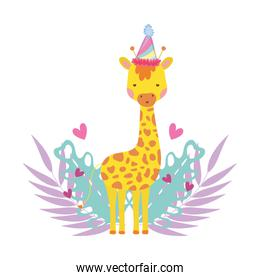 cute and little giraffe with party hat and garden