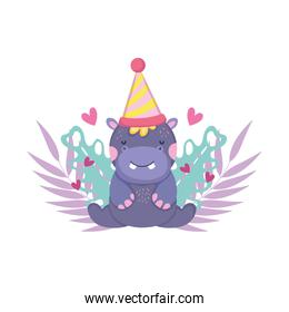 cute and little hippo with party hat and garden