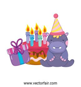 cute and little hippo with party hat and cake