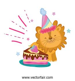cute and little lion with party hat