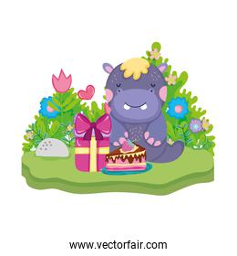 cute and little hippo character