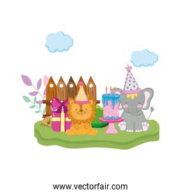 little elephant and lion with party hat