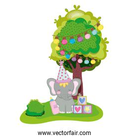 cute and little elephant with party hat