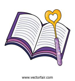 magic wand with heart and book