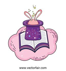 fairytale magic hat with rabbit ears and book