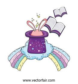 fairytale magic hat with rabbit ears and rainbow
