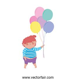 little chubby boy with balloons helium