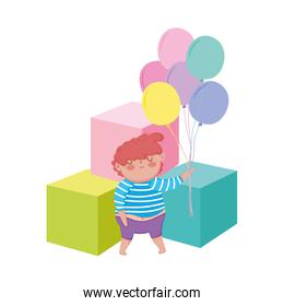 little chubby boy with balloons helium and blocks