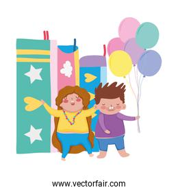 little chubby couple with balloons helium and books