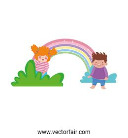 little chubby couple with rainbow in the landscape