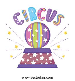 circus stage with plastic balloon