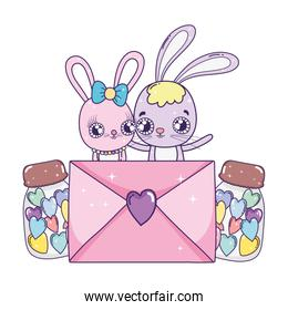 cute rabbits couple with envelope valentines day