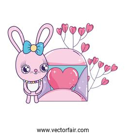 cute rabbit girl with envelope valentines day