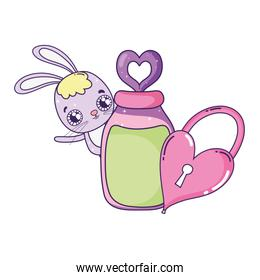 cute rabbit with heart padlock valentines day