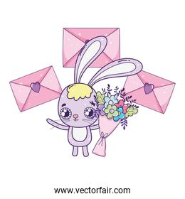 cute rabbit valentines day with envelopes